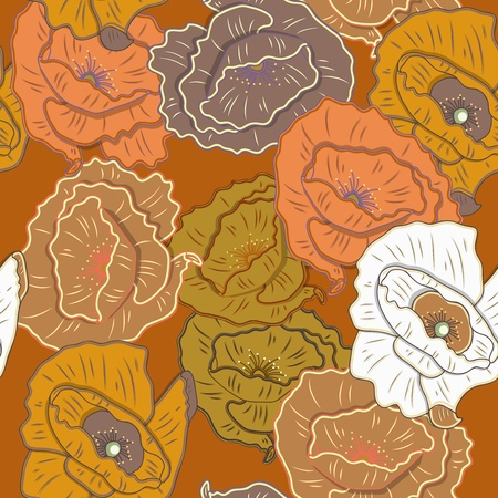 poppy pattern: Seamless texture with drawing flowers Illustration