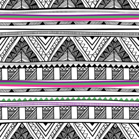 明るい部族飾りと抽象的なベクトルのシームレスなパターン