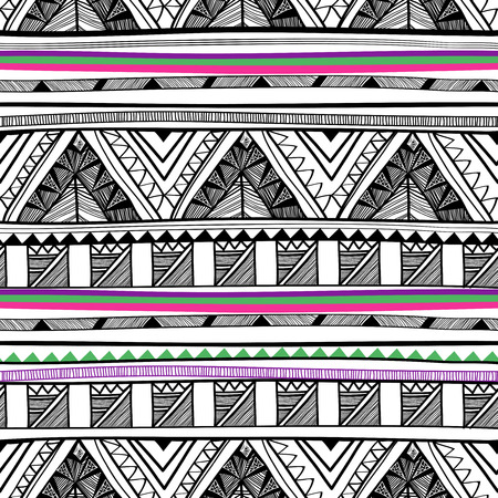 Abstract vector seamless pattern with bright tribal ornament
