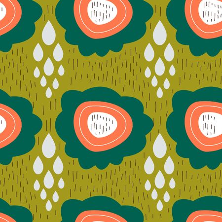 Floral pattern  Abstract seamless vector texture with drawing flowers  Vector pattern  Vector texture. Wallpaper, cloth design, fabric, paper, cover, textile. Hand Drawn texture with green flowers. Illustration