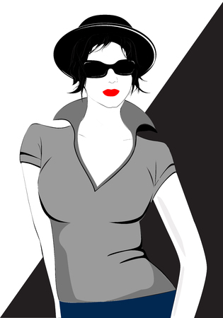Fashion woman model with a black hat and sunglasses - vector illustration. Portrait of young girl. Pose.