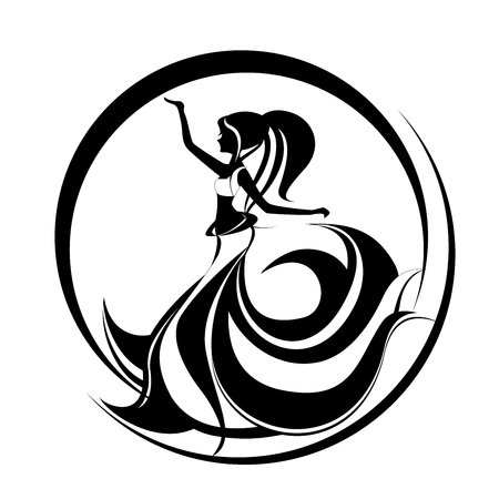 Beautiful girl dancing belly dance. Oriental dancing logo. Abstract illustration of a long haired woman. Vettoriali