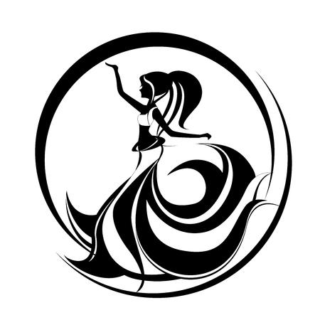 Mooie meisjes dansende buikdans. Oosters dansend logo. Abstracte illustratie van een langharige vrouw.