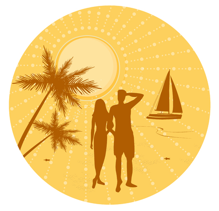 Male and female silhouettes on a tropical beach vector illustration. Summer seascape.