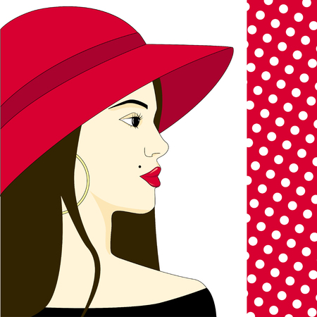 Beautiful fashion woman model with red hat and long hair - vector illustration. Female portrait. Fashion illustration. Illustration