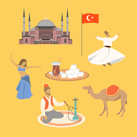 Cartoon of Turkey symbols and objects set vector illustration: Saint Sophie Cathedral, belly dancer, turkish tea, turkish delight, camel, dancing dervish, man smokes a hookah while sitting in turkish.