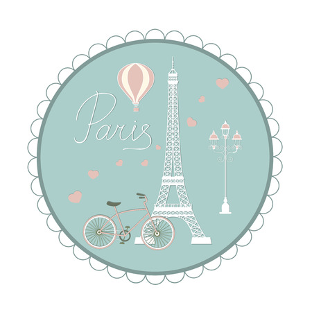Set of symbols of Paris: Eiffel tower, balloon, lamp, bicycle, hearts. Logotype with hand drawn text. Illustration