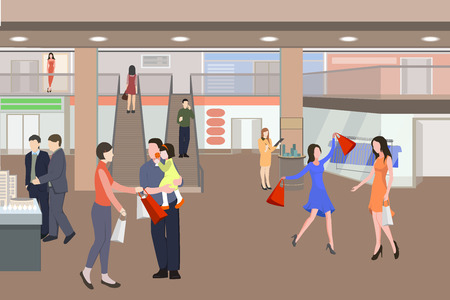 Shopping in a mall cartoon illustration. Silhouettes of people in shopping center. Vector illustration. Men and women with packages.
