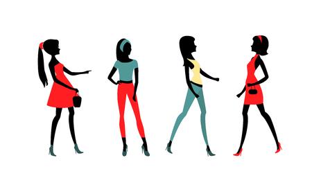 Mode Mädchen Silhouetten. Standard-Bild - 79801147