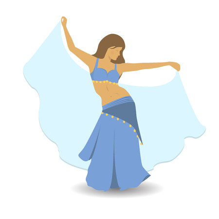 Hermosa chica en traje azul bailando la danza del vientre. Ilustración de vector de estilo plano de baile oriental. Bailarina del vientre en el vestido tradicional. Baile de mujer de pelo largo profesional. Ilustración de vector