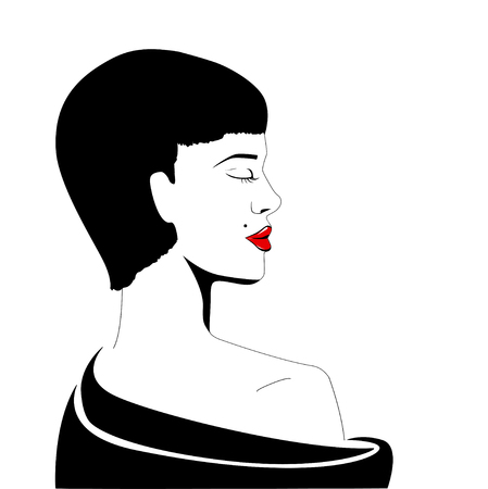 Beautiful fashion woman model with short hair - vector illustration. Female portrait. Fashion illustration.