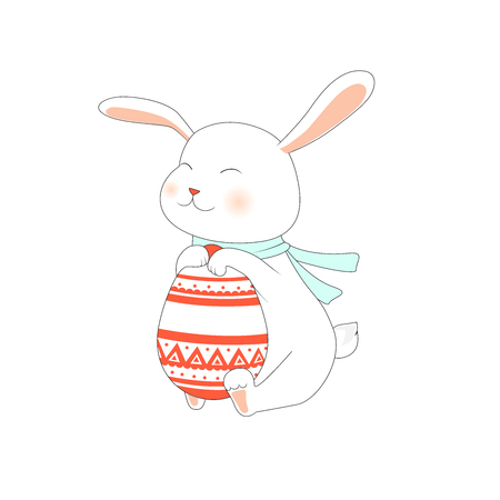 Cute rabbit with egg. Pretty bunny with blue scarf. Vector illustration.