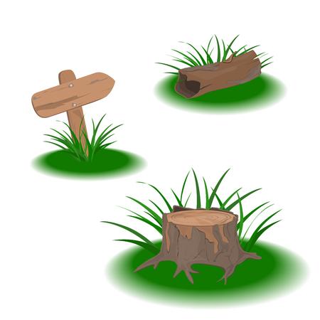 Set of vector elements: pointer, stump, snag. Vector graphics. Artwork design element. Set of elements for user interface design of computer games. Illustration