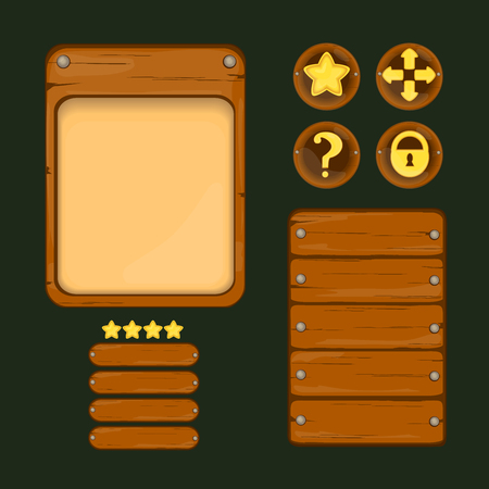 Computer instruction: Set of elements for user interface design of computer games. Button, star, interface, arrow, lock. Template panel for mobile app design. Old wood imitation.