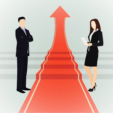 Business concept illustration. Concept for success, motivation in business. Teamwork. Flat style vector business illustration. Man and woman. Red carpet.