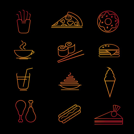 Fast food icon set. Vector illustration. Food collection.