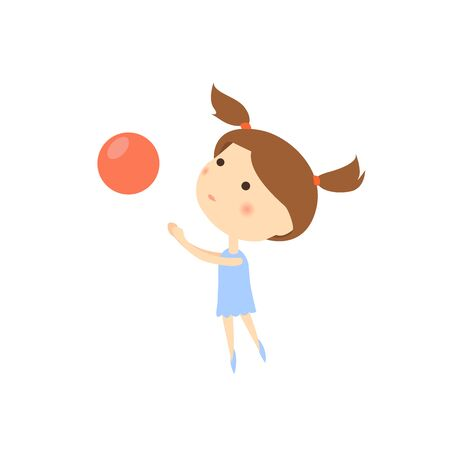 Small pretty girl with red ball. Cartoon kid playing vector illustration.