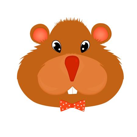 Hamster in einer Bindung mit Tupfenzeichentrickfilm-figur-Vektorillustration. Hübscher Nager. Nettes Haustier. Standard-Bild - 79801152