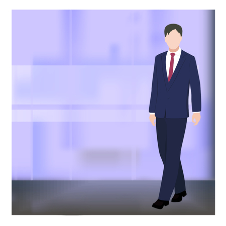 Business concept illustration. Businessman on blue abstract background. Flat style vector business illustration. Man.