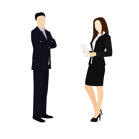 People vector illustration. Cartoon characters. Man and woman flat style illustration. Business situation.