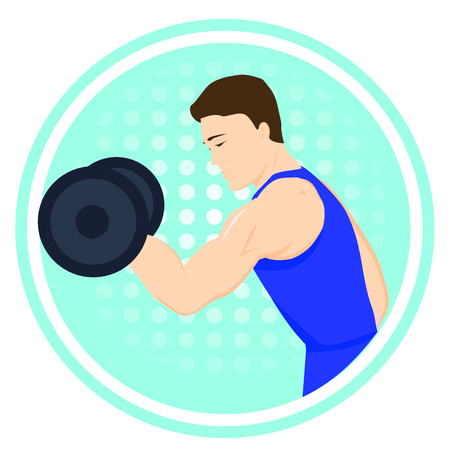 Man doing exercise with dumbbells. Sport logo. Healthy lifestyle. Sportsman with sports equipment. Illustration