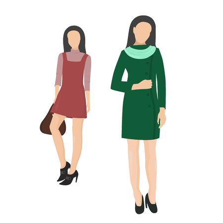 Two girls. Womens fashion style. Girl with bag. Woman. People. Situation. Illustration
