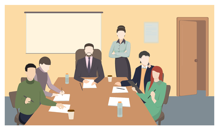 Business characters. Working people, meeting, teamwork.conference table, brainstorm. Workplace. Office life. Flat design vector illustration. Çizim
