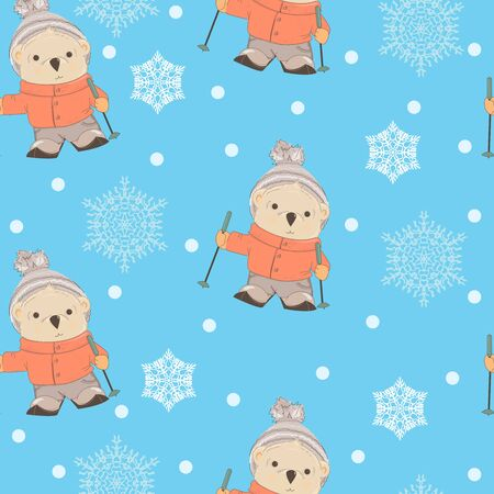 Seamless pattern. Cartoon Teddy Bear wearing a hat, jacket and jeans skiing vector illustration. Colorful seamless background with bear.