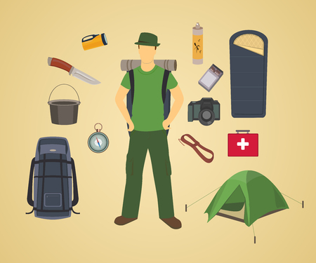 Vector man with set of camping elements. Camping equipment. Tourist. Camper.