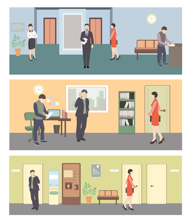 Office life. Man and woman in hall. Men and woman in office. Workplace. Situation in office. People in hall near reception. Flat style vector illustration.