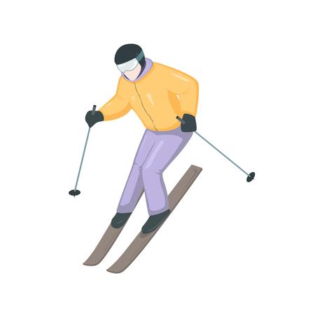Cartoon skier vector illustration. Winter sport. Stick sportsman.