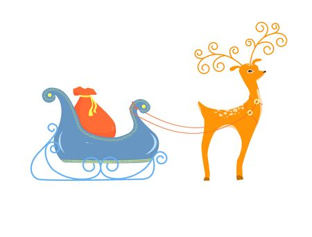 Deer driven sleigh with gifts. Cartoon deer vector illustration. Pretty little deer isolated on white background.