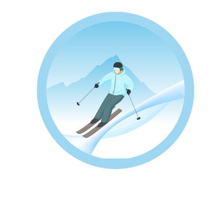 漫画スキーヤーのベクター イラストです。スキーヤーは山から降りる。冬のスポーツ。冬の風景。山の背景にスキーヤー。スキーヤーのロゴ。