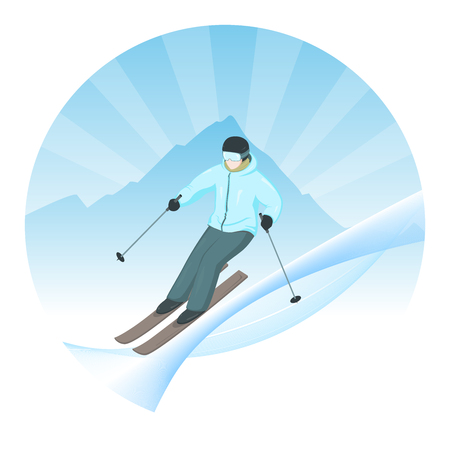 Cartoon skier vector illustration. Skiers descend from the mountains. Winter sport. Winter landscape. Skiers on a background of mountains. Logo with skier.