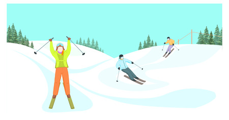 Cartoon skiers vector illustration. Skiers descend from the mountains. Winter sport. Winter landscape. Skiers on a background of mountains.