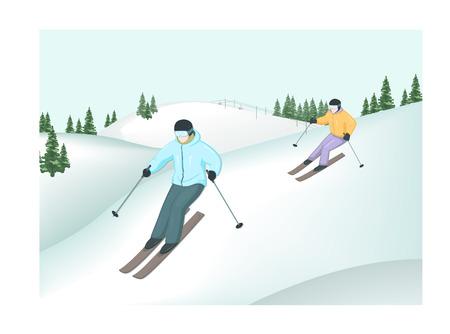 漫画スキーヤーのベクター イラストです。スキーヤーは山から降りる。冬のスポーツ。冬の風景。山の背景にスキーヤー。