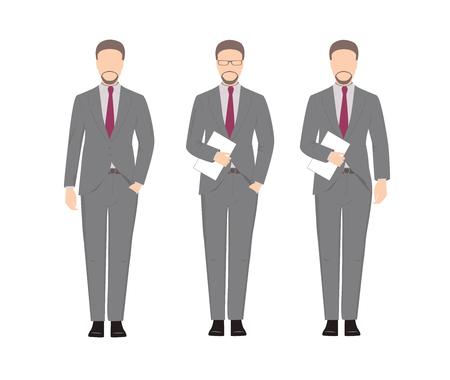 Man in a business suit. Boss cartoon character. Stick figure Ilustração