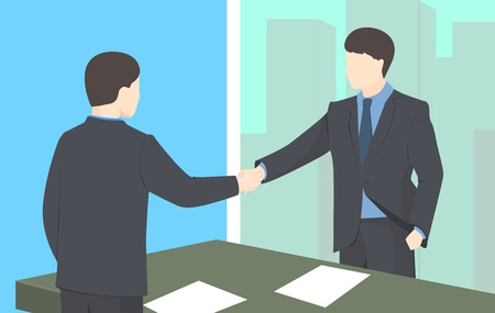 Handshake vector illustration. Business man shaking hands. Strong and firm handshake clap.