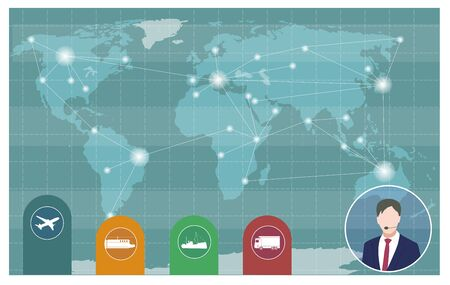 World transportation and logistics. Global Logistic, shipping and service worldwide delivery world map concept.