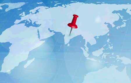 World travel map. Travel red pin location on a global map. Vector illustration.