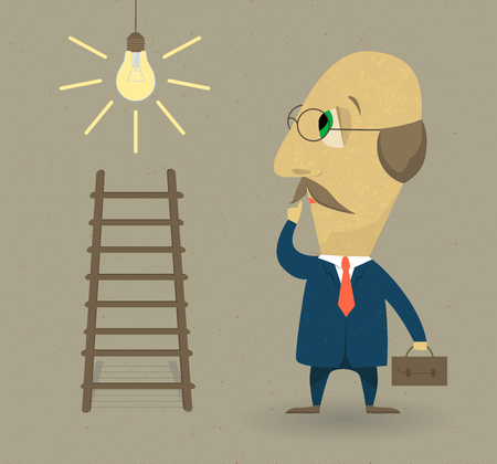 Hombre de negocios con escaleras y lámpara. Concepto de negocio. Ilustración vectorial de estilo plano.