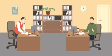 Leute im Raum. Büroleben. Flache Stil Vektor-Illustration. Situation im Büro. Arbeitsplatz. Zwei Männer im Büro. Büroinnenraum. Standard-Bild - 80343588