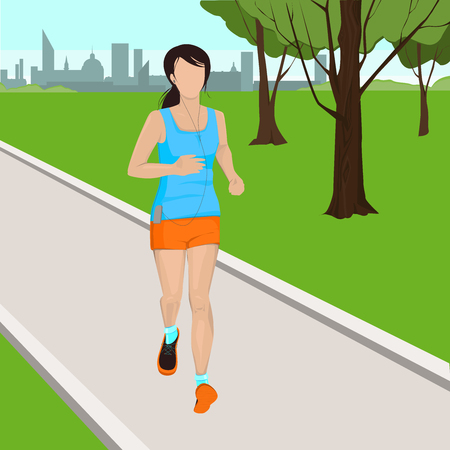 Running woman in a park. Active girl vector illustration. Beautiful girl jogging in the park. Morning jogging.