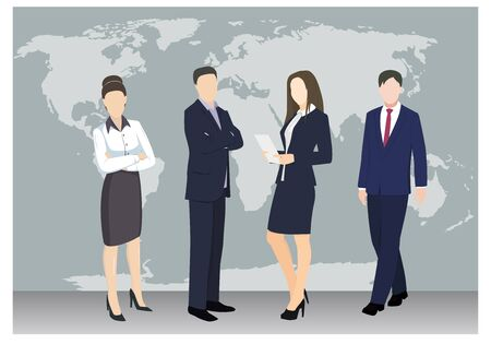 People on the background of the world map. Business concept illustration. Teamwork. Flat style vector business illustration.