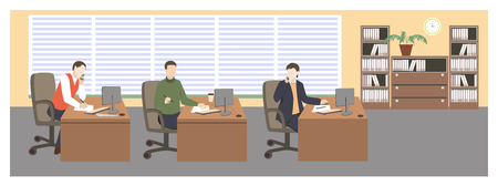 People in room. Office life. Flat style vector illustration. Situation in office. Workplace. Three men in office. Office interior.