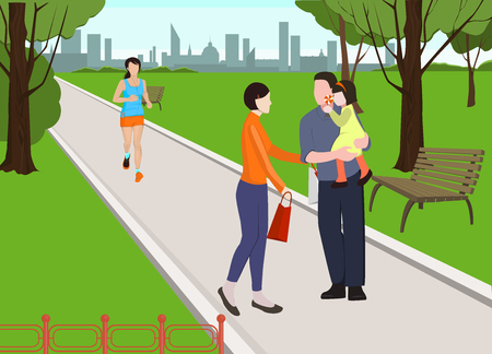 People in park vector illustration. Family walking in park. Mother, father and baby walking together. Running woman. Morning jogging.