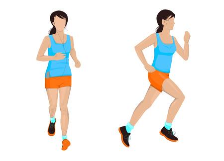 Running woman. Active girl vector illustration. Morning jogging.