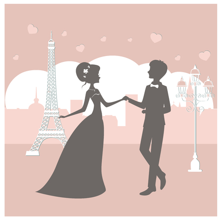 Bride and groom silhouette in Paris vector illustration. Newlyweds near Eiffel tower. Illustration