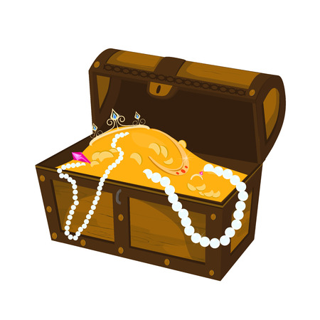 Element for user interface design of computer games. Panel element for mobile app design. Treasure chest. Open chest.