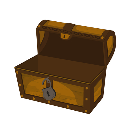 Element for user interface design of computer games. Panel element for mobile app design. Empty wooden open chest.